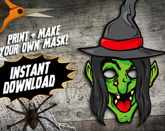 PRINTABLE Witch Mask, kids paper halloween mask, DIY halloween costume parties, paper monster mask, instant download PDF