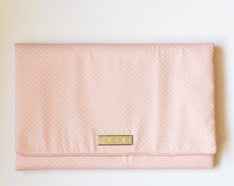 Pink and White Polka Dot Fabric Clutch Bag