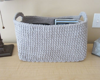 Large Storage Basket, Crocheted Storage Bin, Rectangle Box Container, Many uses - DVDs, Kitchen top of Fridge, Diapers, Toys, Bathroom