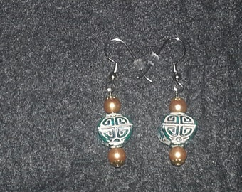 Chinese Turquoise  w/Gold glass beads Earring Set