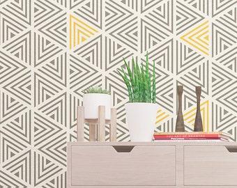 Wall Stencil - Modern Geometric Wall stencil - Seamless Pattern Wall Stencil - Reusable Stencil For Wall Decor