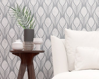 Floral Pattern Wall Stencil - Feathers Repeatable Pattern Stencil For Wall Decoration - Seamless Pattern
