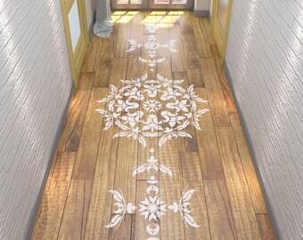 Floor Stencil- Symmetric Mandala Stencil - Mandala Stencil