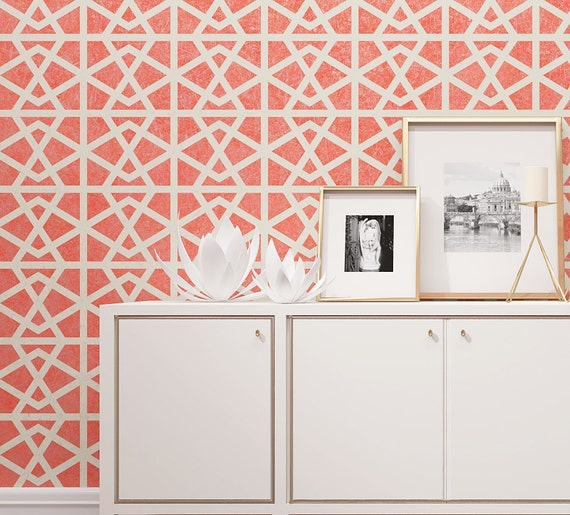 Wall painting stencil geometric pattern for wall by stencilslabny - Pochoir mural a peindre ...