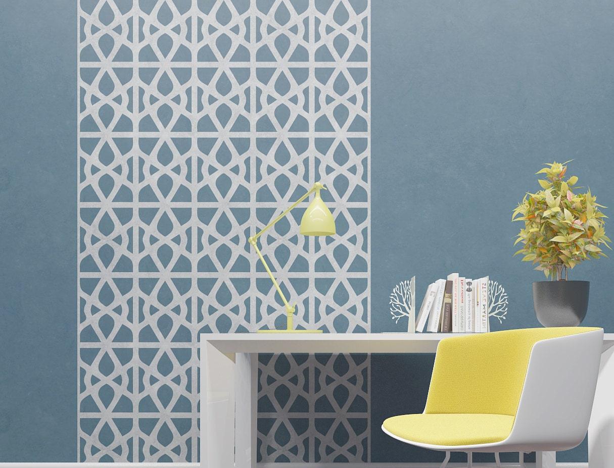 wand schablone moderne geometrische muster. Black Bedroom Furniture Sets. Home Design Ideas