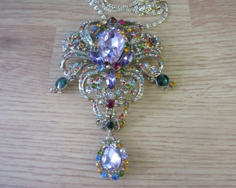 Large Vintage Rhinestone Dangle Brooch Pendant With Chain, Multi Color Stunning Necklace