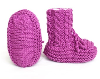 Baby Booties Hand Knit with Cables Purple