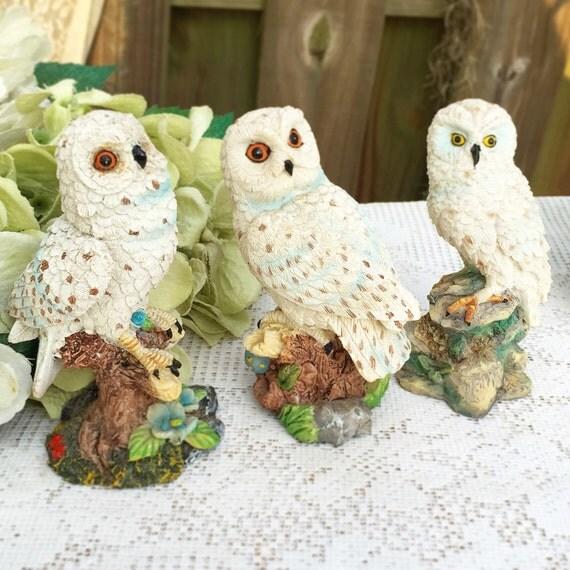 3 White Snow Owl Figurines Set Home D Cor Decorative