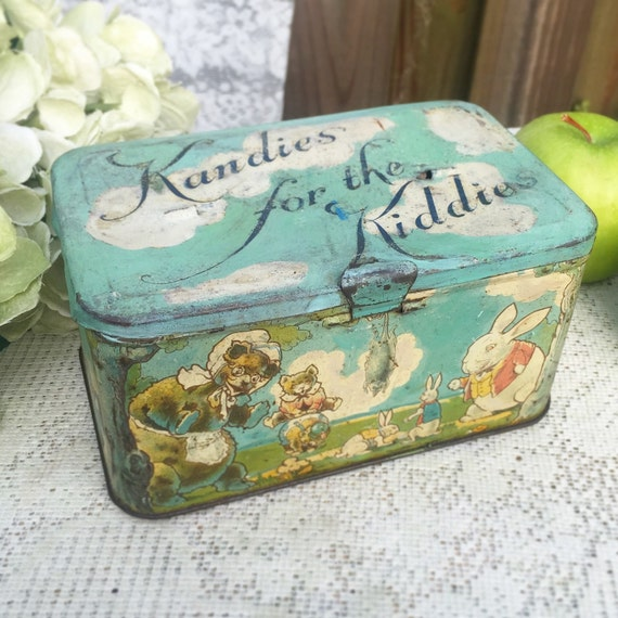 Decorative Box Lunches : Adorable antique bunny frog decorative tin litho box easter