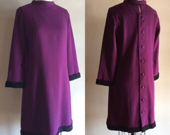 MOD AUBERGINE Vintage 50s 60s Pretty Purple Vogue Special Design Wool Gabardine Shift Dress with Back Buttons and Black Persian Lamb Trim