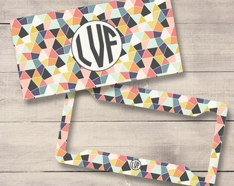Geometric Monogram License Plate and Frame, Personalized License Plate, Monogram Car Tag