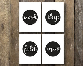 Wash Dry Fold Repeat - Laundry Room Printables - Instant Download - Laundry Room Sign - Wash Dry Fold - Laundry Room Prints - Laundry Art