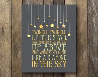 Twinkle Twinkle Little Star - Printable Nursery Art - Instant Download - Twinkle Little Star Print - Yellow Gray Nursery - Star Nursery Art
