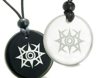 Love Couple Minrozian Empire Quartz Black Agate Pendant Necklaces