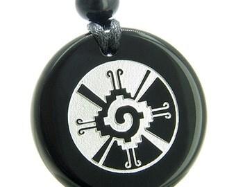 Amulet Mayan Unity of All Things Hunab Ku Black Agate Pendant Necklace