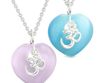 Ancient OM Amulets Love Couples or Best Friends Magic Hearts Sky Blue Purple Simulated Cats Eye Necklaces