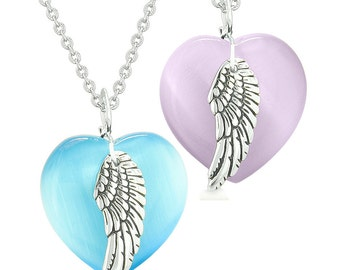 Amulets Angel Wing Hearts Love Couples or Best Friends Purple and Sky Blue Simulated Cats Eye Necklaces