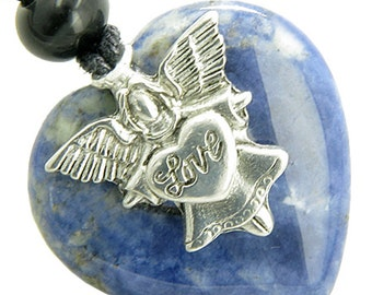 Guardian Spirit Angel Love Heart Good Luck Amulet Sodalite Pendant Necklace