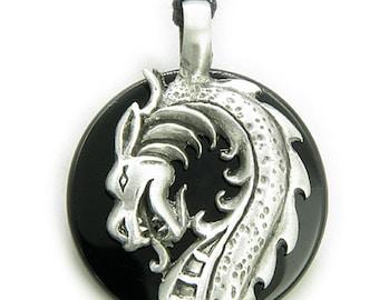 Black Agate Magic Powers Circle Dragon Spiritual Protection Pendant Necklace