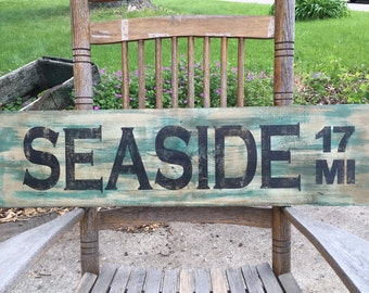 Seaside Hand Painted Wood Sign - SHIPS WITHIN 3 DAYS!