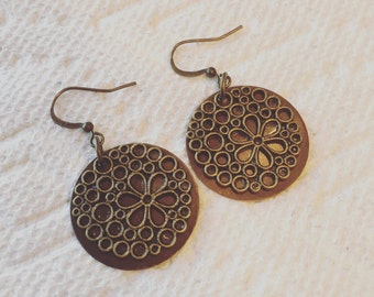 Antique brass and copper disk dangle earrings.