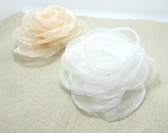 3 5/8 Inches Layered Rose Flower|Burned Edges|Hair Flower|Brooch Pin|Wedding Fabric Flower|Applique|Handmade|Floral Supply|Embellishment