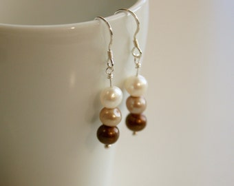 Handcrafted Sterling Freshwater Coffee Tone Pearl Earrings - Gift Boxed