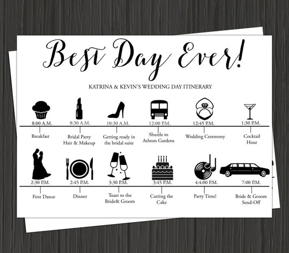 Wedding Day Itinerary Printable Wedding By