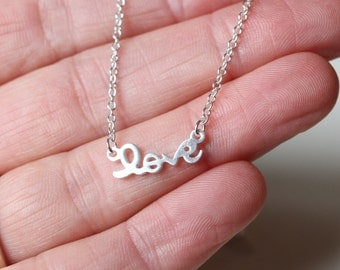 Love Necklace, Simple Silver Charm necklace, Layering Love jewellery