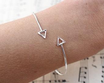 Arrow Triangle Bracelet, Silver adjustable Bangle, Simple Stackable jewellery