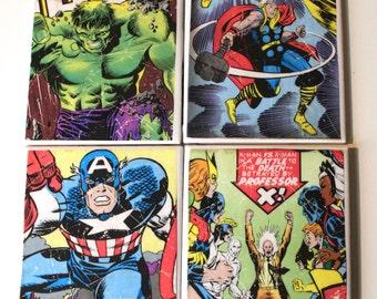 Comic book Coasters/ X Men/ Captain America/ Hulk/Thor/ Super Hero Home decor