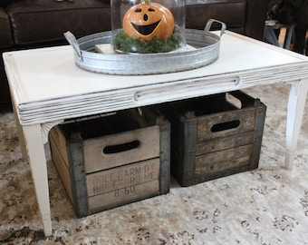 Vintage Coffee Table - Annie Sloan Chalk Paint - Old White - Living Room