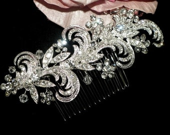 Crystal wedding hair comb, bridal crystal hair comb, wedding silver comb, wedding hair accessory, bridal vintage comb
