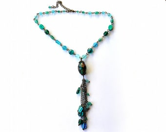 Blue Vintage Glass Beaded Necklace - Boho Chic Fringe Necklace - Lampwork Beaded Chain Necklace