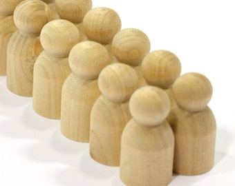 10 Baby Peg Dolls-Unfinished Hardwood-High Quality Turnings-Waldorf-Game Pieces-Craft Supplies
