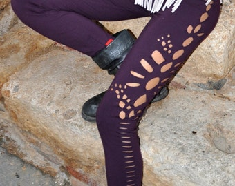 Purple legging, handmade cuts legging, yoga legging, festival legging! 95% cotton!