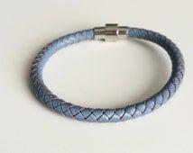 Periwinkle Blue Braided Leather Bracelet Magnet Clasp - Violet Blue Leather Bracelet -  Blue Bracelet - Men's Bracelet - Gifts for Her
