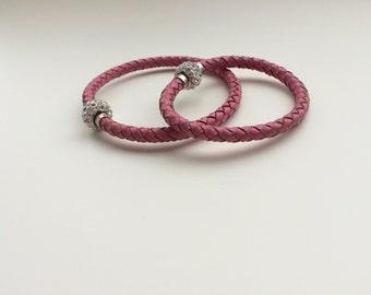 Mommy and Me Bracelets - Pink Leather Bracelets - Pink Braided Leather Bracelets - Customized Bracelets