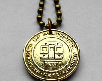 MBTA Massachusetts Bay Transportation Authority Subway train transit T Token coin pendant necklace Boston Massachusetts initial T n001072