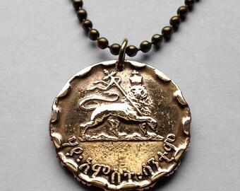 1944 Ethiopia 25 Santeem coin pendant Rastafari Lion of Judah necklace Haile Selassie I African crowned WWII Zion Jewish tribe No.000618
