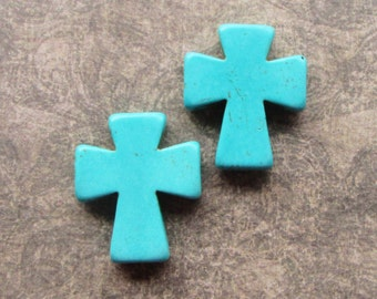 2 Turquoise Cross Pendant Beads 35x30mm, 7mm thick Synthetic, dyed stone, Imitation Gemstone
