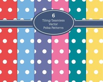 6 Retro Colored Polka Dot Patterns Scrapbook Clipart Digital Download Seamless Vector Graphics Digital Papers