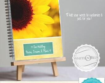 PERSONALIZED WEDDING NOTEBOOK - Sunflower design