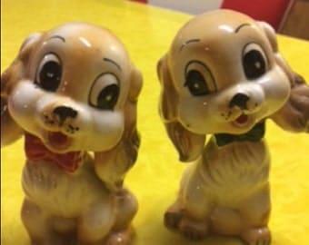 Vintage Figurine Puppy Dog Salt Pepper Shakers Commodore Japan