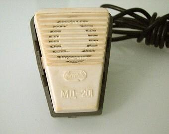 Soviet microphone speaker record vintage. Plastic Dynamic microphone. Karaoke supplies. USSR, 1986, Tula plant 'Octava'
