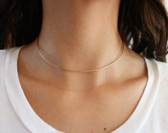 Gold or Silver Choker Necklace