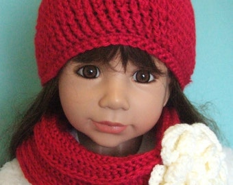 Crochet Beanie hat and cowl set Childs hat set Girls beanie and Cowl Crochet Girls hat set Red Beanie and Cowl Hats for children winter hat