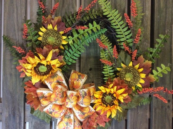 On Sale Fall Wreaths For Front Door Autumn By Fancystuffdecor
