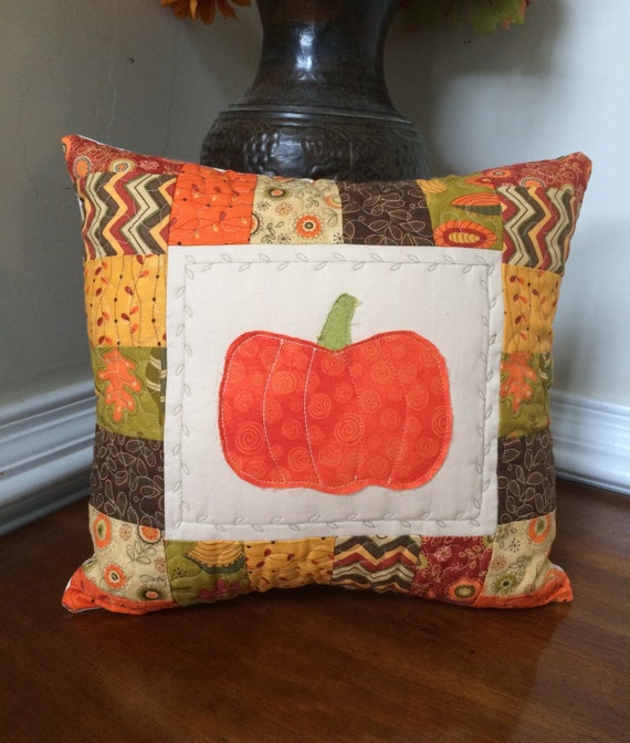 Decorative Pillows For Fall : Fall pillow Fall quilted pillow pumpkin applique pillow