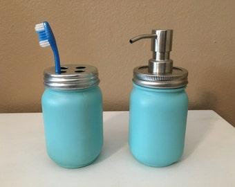 Mason jar bathroom set, Mason jar toothbrush holder, mason jar soap dispenser, bathroom decor, mason jar decor, bathroom organizer